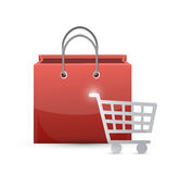 Shopping cart and bag illustration design Royalty Free Stock Images