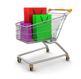 Shopping Cart and Bags  (clipping path included) Stock Photography