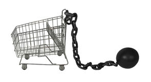 Shopping Cart and Ball and Chain Stock Photos