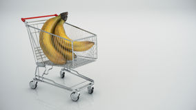 Shopping cart with bananas Stock Photo
