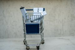 Shopping cart banner blank advertisement full of technology royalty free stock images