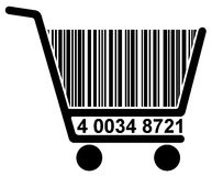 Shopping cart with barcode Royalty Free Stock Image