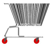 Shopping cart with barcode Stock Image
