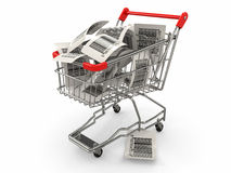 Shopping cart with barcode labels. 3d. Shopping cart with barcode labels on white background. 3d Stock Photo