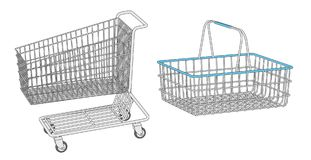 Shopping cart and basket Royalty Free Stock Images