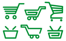 Shopping cart and basket icons Stock Photos