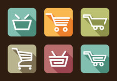 Shopping cart and basket icons Stock Images