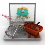 Shopping cart and  basket on laptop Stock Photo