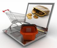 Shopping cart and basket on laptop Royalty Free Stock Images