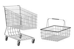 Shopping cart and basket Royalty Free Stock Photos