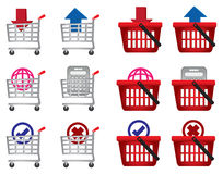 Shopping cart and basket vector icon set for e-commerce vector illustration