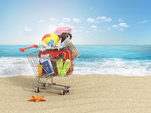 Shopping cart with beach accessories on the beach line. Summer shopping. Sunbed, sunglasses, world map, beach shoes, sunscreen, ai. R tickets, beach ball, camera Royalty Free Stock Images