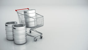 Shopping cart with beer kegs Stock Image