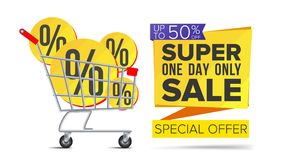 Shopping Cart With Big Sale Banner Vector. Up To 50 Percent Off. Sale Banner Tag. Price Labels. Isolated Illustration. Shopping Cart Sale Flyer Vector Royalty Free Illustration