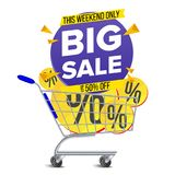 Shopping Cart Big Sale Banner Vector. Discount Special Offer Banners Template. Isolated Illustration. Shopping Cart With Big Sale Banner Vector. Up To 50 Percent Royalty Free Illustration