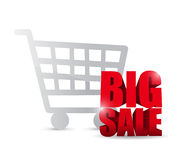 Shopping cart and big sale text sign illustration Royalty Free Stock Image
