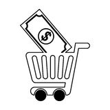 Shopping cart with bill Stock Photo