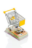 Shopping cart on bills. Shopping cart is on banknotes, symbolic photo for shopping, purchasing power, money printing and inflation Royalty Free Stock Photo