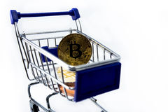 Shopping cart with bitcoin Stock Photography