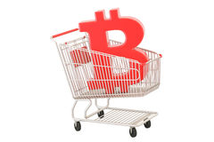 Shopping cart with bitcoin symbol, 3D rendering. On white background Royalty Free Stock Image