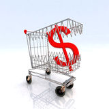 Shopping cart that bites dollar Royalty Free Stock Photography