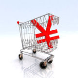 Shopping cart that bites yen Royalty Free Stock Photography