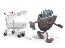 Shopping cart biting savings purse Stock Photography