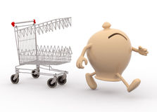 Shopping cart biting savings. Shopping cart with teeth follow moneybox with arms and legs that run away Royalty Free Stock Photo
