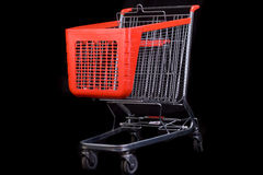 Shopping cart on black background Royalty Free Stock Photography