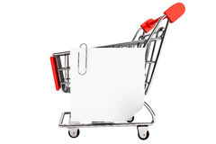 Shopping cart and blank paper note list Royalty Free Stock Image