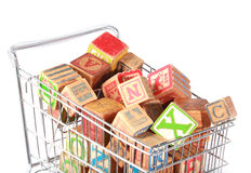 Shopping cart with blocks Stock Photos