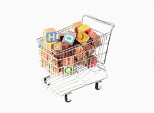 Shopping cart with blocks Royalty Free Stock Photo