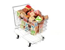 Shopping cart with blocks Stock Photography