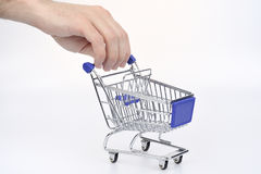 Shopping cart. Blue empty shopping cart Stock Image