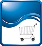 Shopping cart on blue wave background Royalty Free Stock Photography
