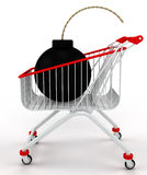 A shopping cart with a bomb. Stock Images