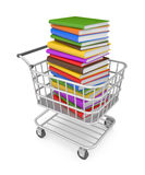 Shopping cart with book. Image contain the clipping path Royalty Free Stock Photography