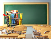 Shopping cart with book in the classroom  Stock Image