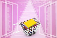 Shopping cart with book. Image contain clipping Illustration path Stock Images