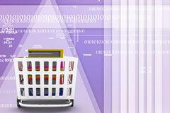 Shopping cart with book. Image contain clipping path Illustration Stock Photography