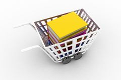 Shopping cart with book. Image contain clipping path Royalty Free Stock Photo