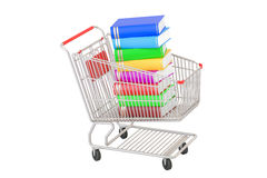 Shopping cart with books, 3D rendering. Isolated on white background Stock Photos