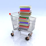 Shopping cart books. Shopping cart full of books 3d illustration Royalty Free Stock Image