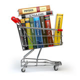Shopping cart with books  on white. Textbooks. Back to s Royalty Free Stock Photo