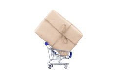 Shopping cart with box on white isolated. Stock Image