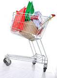 Shopping cart with boxes Royalty Free Stock Image