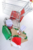 Shopping cart with boxes and bags Royalty Free Stock Image