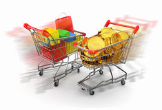 Shopping cart with boxes and coins. 3d Royalty Free Stock Photo
