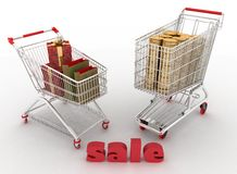 Shopping cart with boxes and dollars Royalty Free Stock Images
