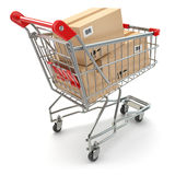 Shopping cart with boxes on white  background Stock Image